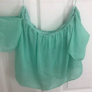 Teal Cropped Off The Shoulder Top